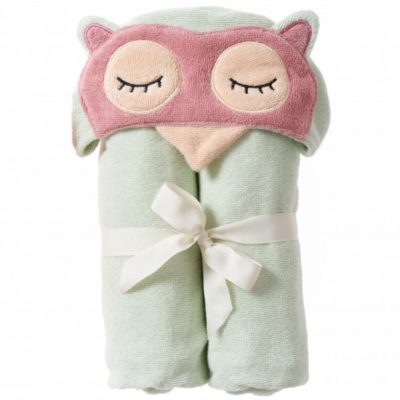 Breganwood Organics Bath and Beach Hooded Wrap sleepy owl