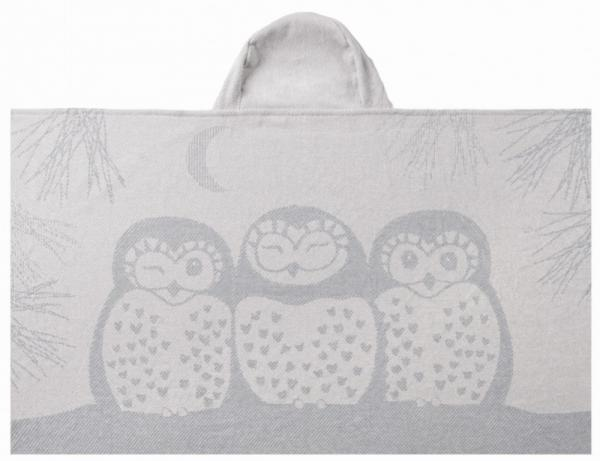 owl hooded towel organic