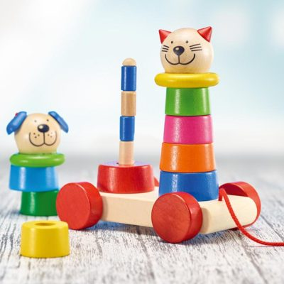 Pull apart and stack pull along toy