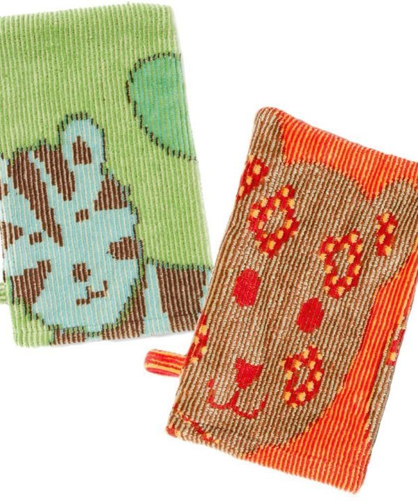 Breganwood Organics bath mitt jungle green and orange