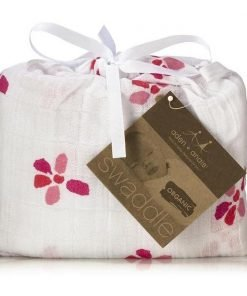 organic swaddle with red flower print
