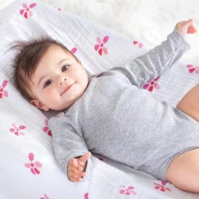 baby on bloom swaddle