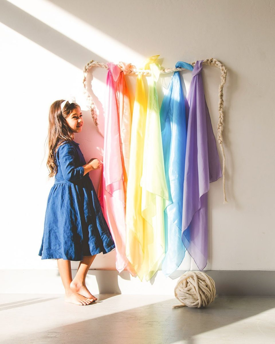 All colours playsilk hanging