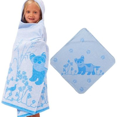 breganwood organics hooded towel with ferret print