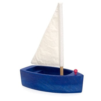 grimms blue wooden sailing boat
