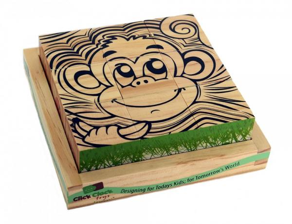 Click Clack wooden blocks monkey