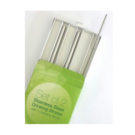 Green Essentials Stainless Steel Drinking Straws and Brush