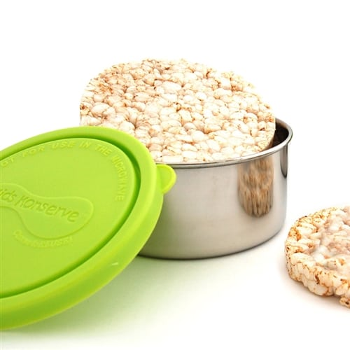 Snack container with lime coloured lid
