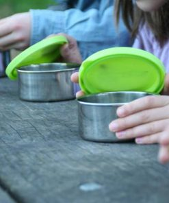 Stainless steel snack containers with green lid