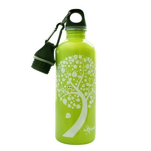 Cheeki 500ml stainless steel water bottle green owl