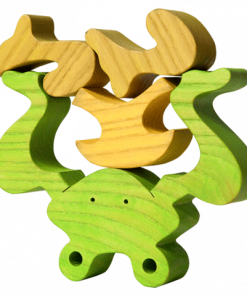 Wooden frog puzzle pieces