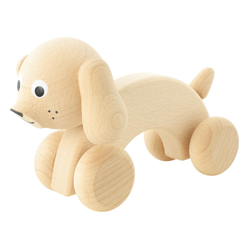 miva vacov wooden push along dog Harley
