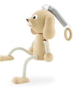 Springy wooden dog toy