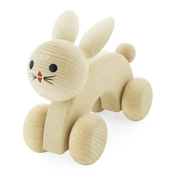 Miva Vacov wooden push along rabbit