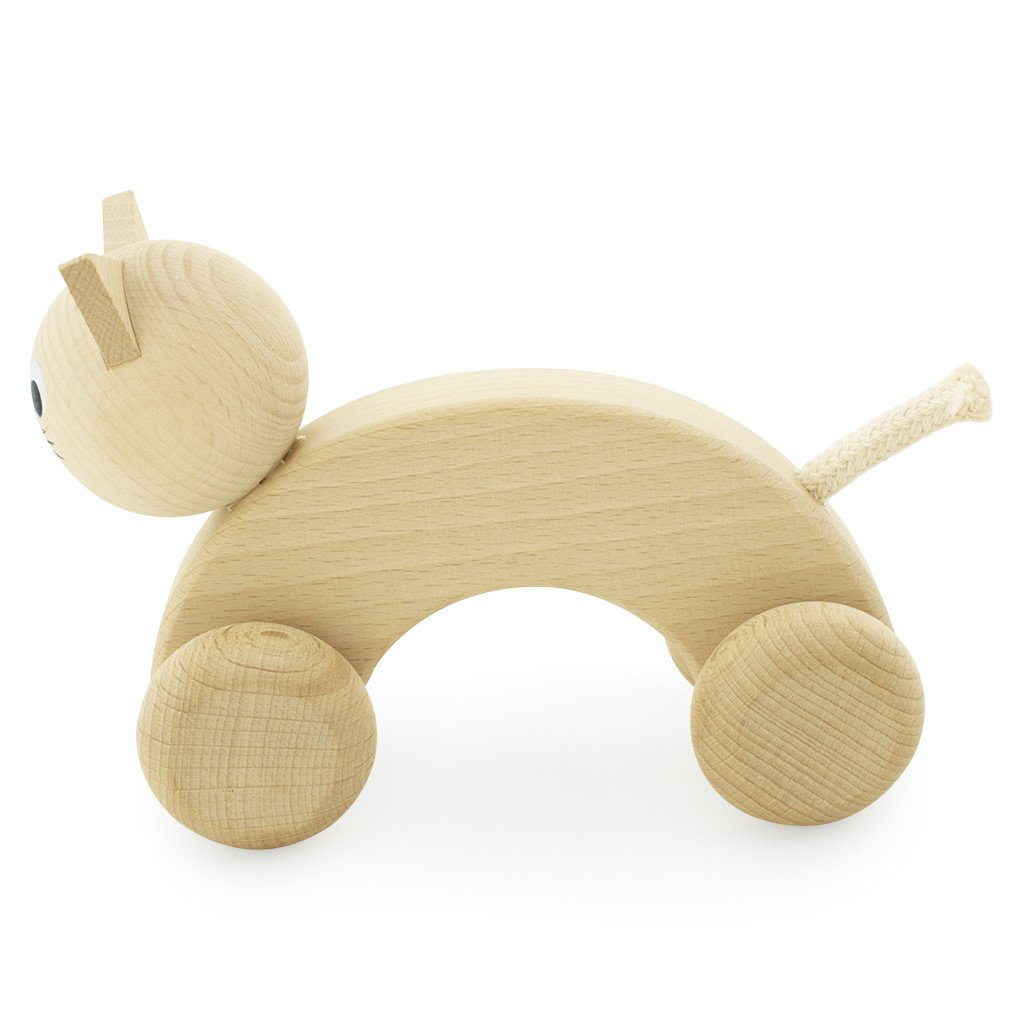 Wooden cat with wheels