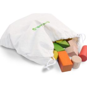wooden block in white carry bag