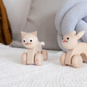Wooden cat and bunny push along