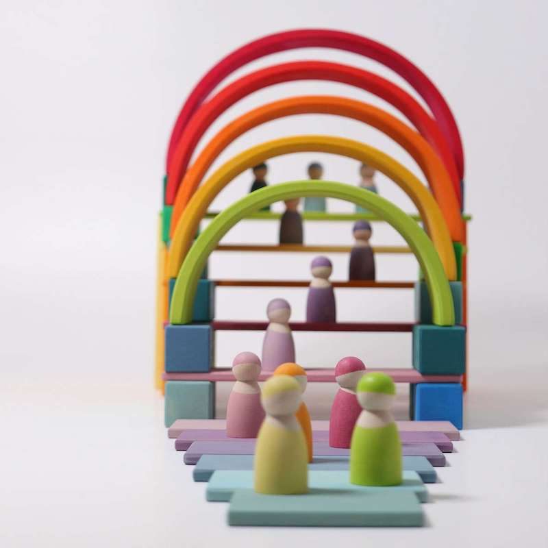 rainbow toy and peg dolls