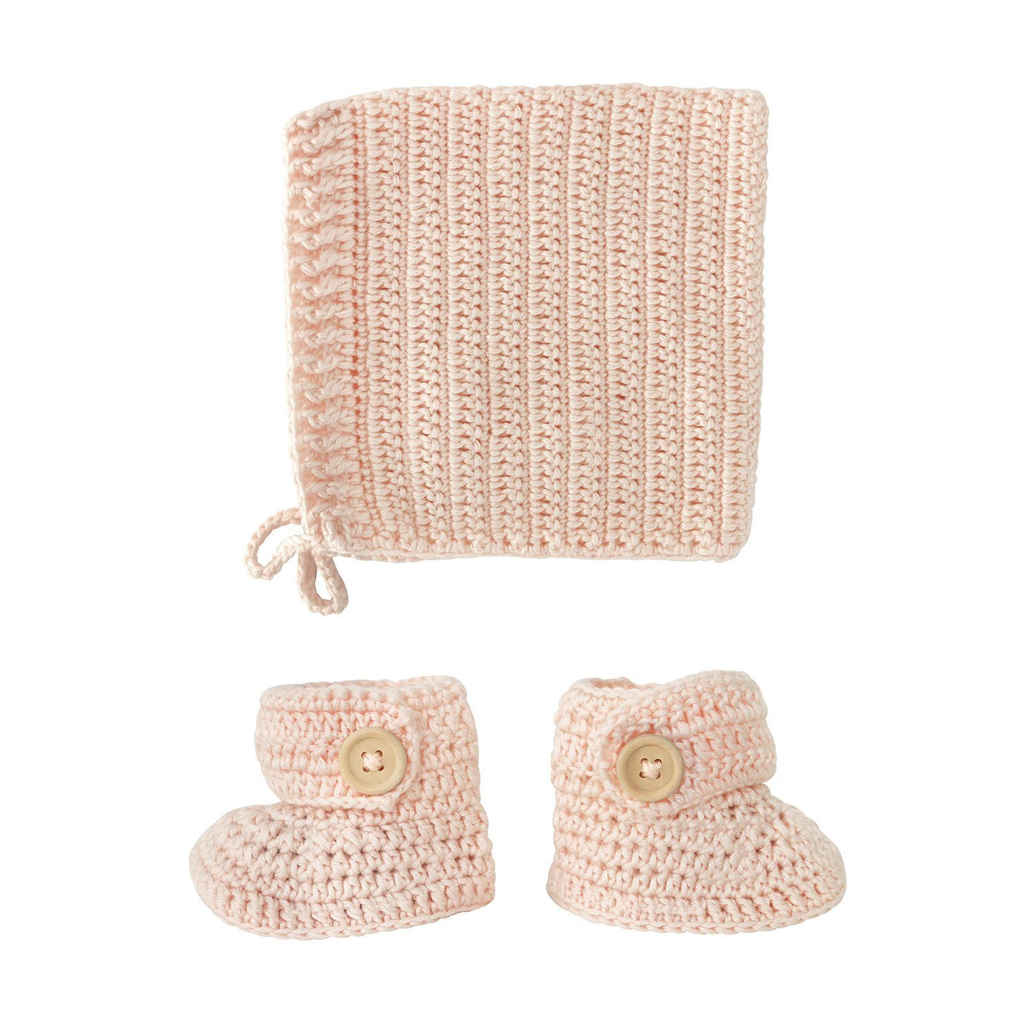 crocheted peach booties and bonnet set
