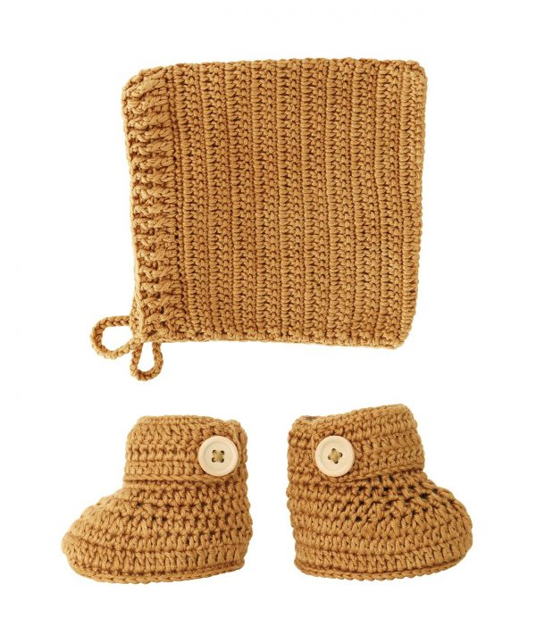 crocheted cinnamon booties and bonnet set
