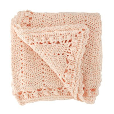 crocheted peach baby blanket