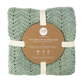 natural baby blanket in sage colour