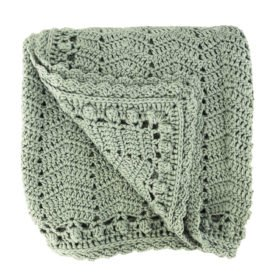 crocheted sage baby blanket
