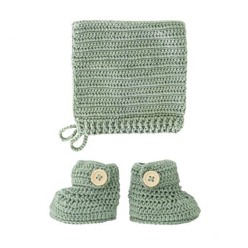 crocheted sage booties and bonnet set
