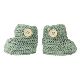 crocheted booties in sage