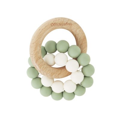 sage coloured wooden teether toy