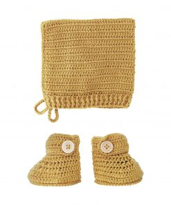 crocheted turmeric booties and bonnet set