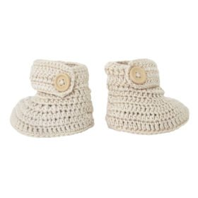 crocheted booties in vanilla