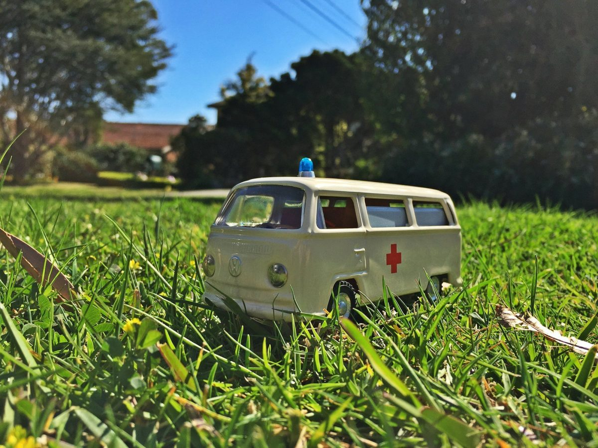 Herman tin ambulance toy VW