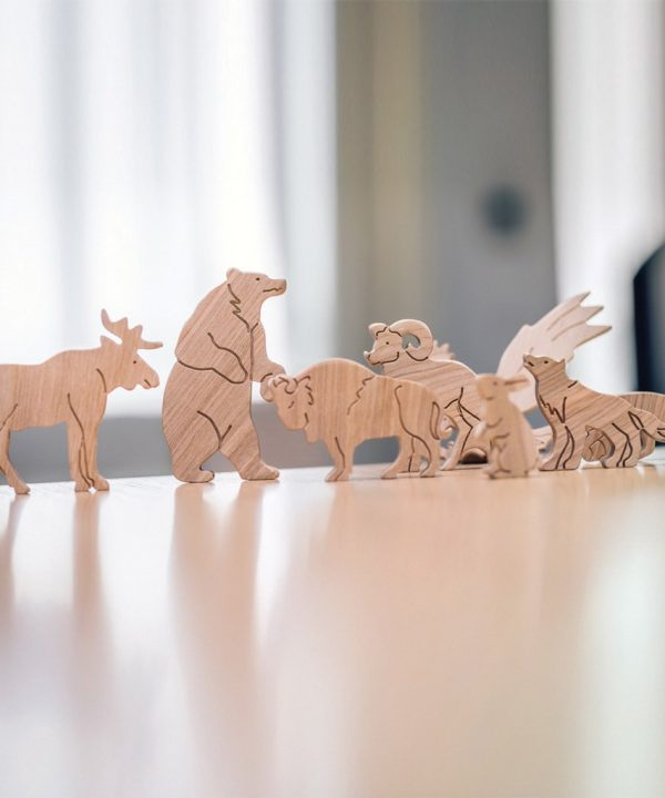 natural wooden standing animals