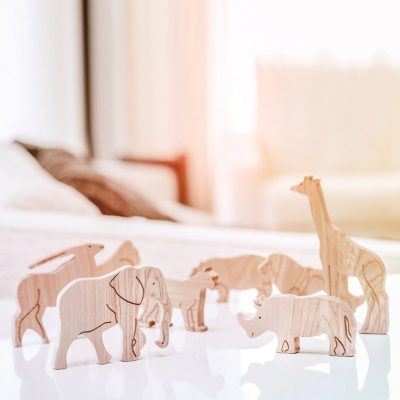 standing wooden african animal toys