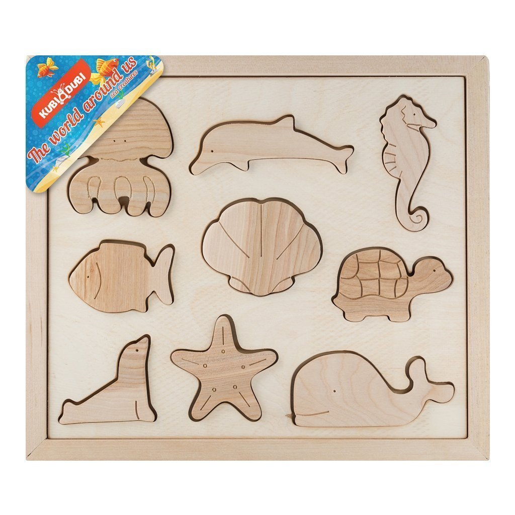 childrens wooden sea life puzzle in package
