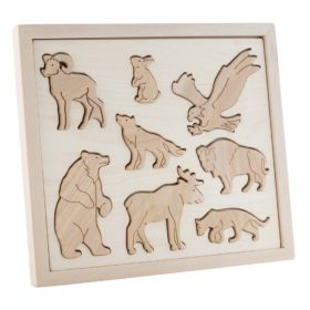 wild animals made from wood