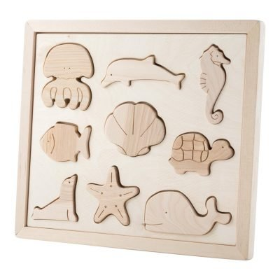 wooden sea animals puzzle set