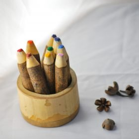 tree color pencils with holder