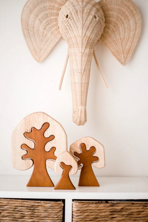 2 tone wooden trees set of 3